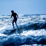 Excited sea, surfing, sky, silhouette, waves, surfer, splashes