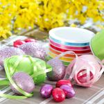 Tablecloth, ribbons, table, easter, eggs