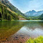 Sky, mountains, forest, trees, lake, water, natural scenery wallpaper