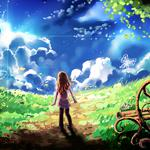 Sky, clouds, butterfly, tree, girl, beautiful anime landscape wallpaper