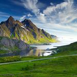 Seaside, highway, mountains, stones, sky, nordic landscape desktop wallpaper