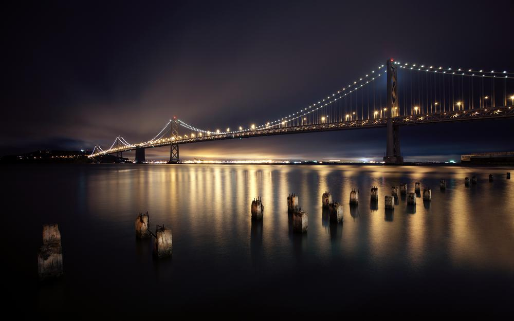 San francisco, city, bridge, night, river, lights