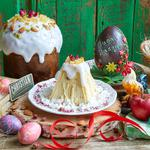 Dyes, easter cake, eggs, apples, flowers, rooster