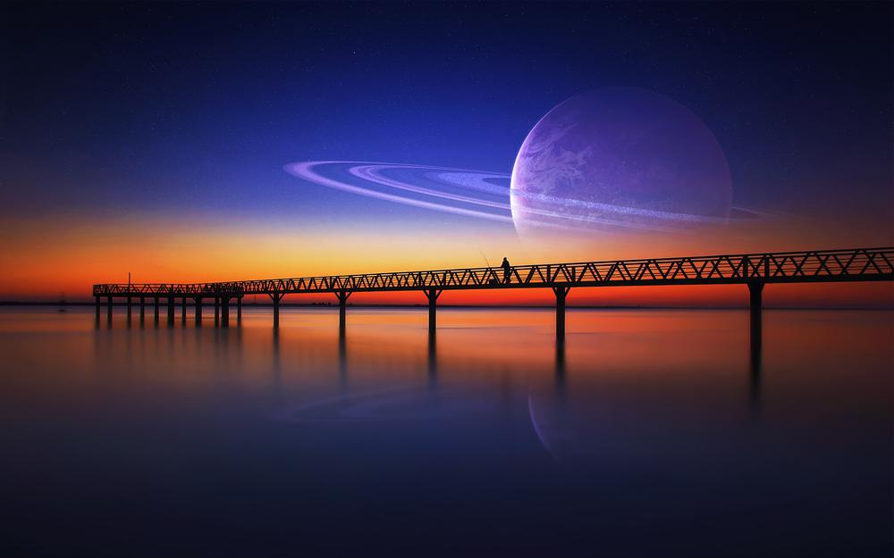 Loneliness, bridge, planet, sky, man, fantasy, sunset, stars