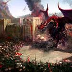 City, dragons, wall, soldiers, destruction