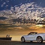 Camaro, chevrolet, sunset, white, car, convertible, sea, clouds, sky