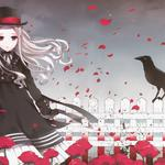 Girl in dress, crow, fence, petals, cute anime computer wallpaper