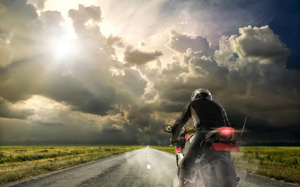Motorcycle road sky grass