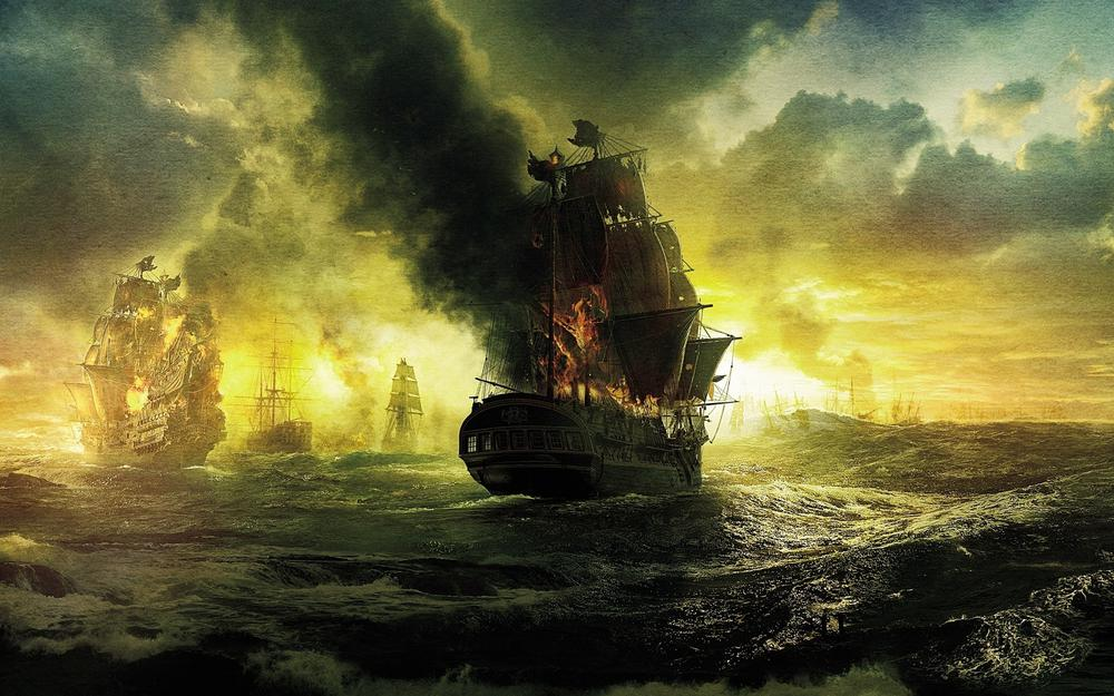 Ships, sea, black pearl, sails, on stranger tides, clouds, fire, pirates of the caribbean, waves