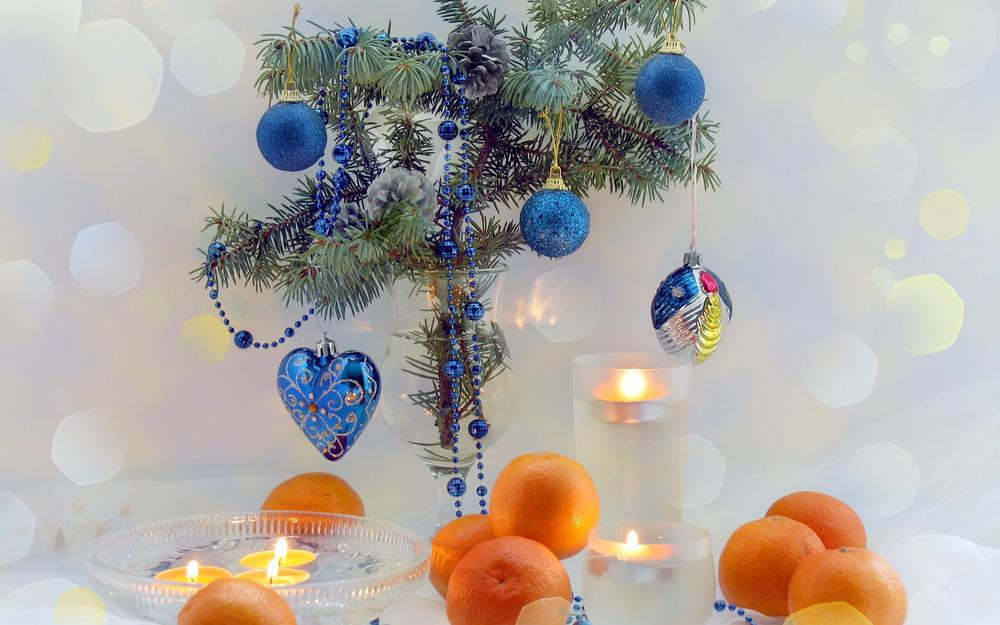 Tangerines, celebration, candles, branch, new year wallpaper