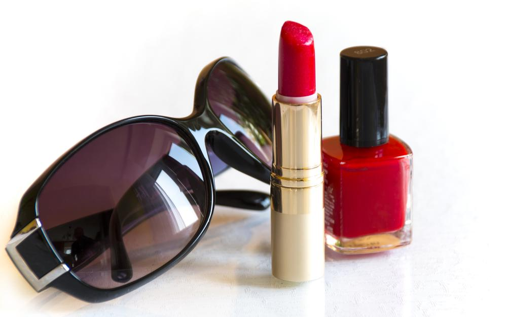 Nail polish, lipstick, glasses, red