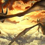 Sunset, clouds, wings, dragons, sun