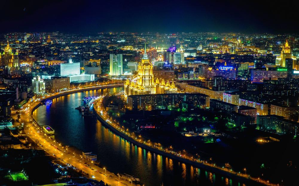 Beautiful city moscow night scenery desktop wallpaper