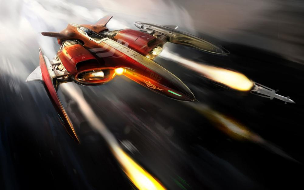 Rockets, flight, ship, attack, red