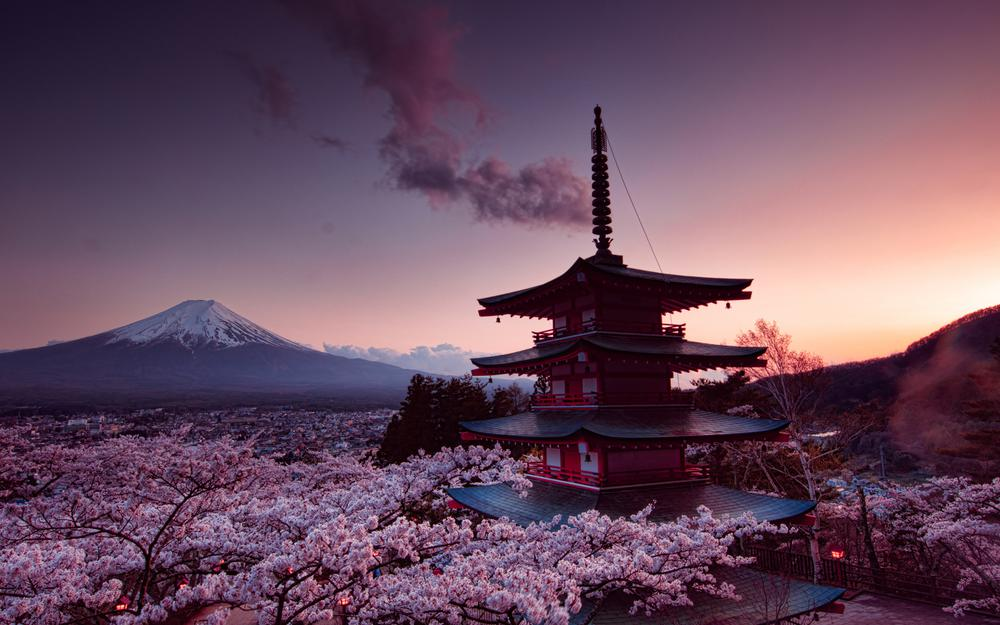 Mount fuji, sakura, tower, japan landscape desktop wallpaper