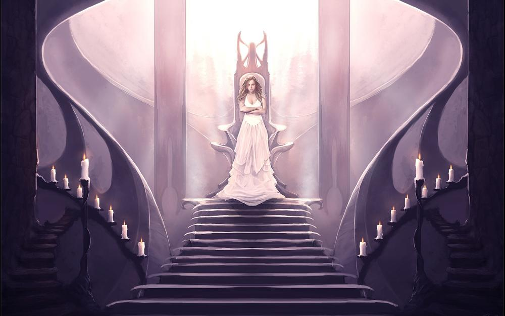 Girl, dress, candles, throne