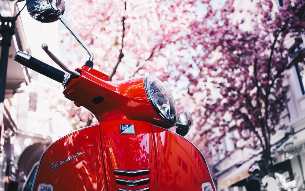 Vespa, scooter, red
