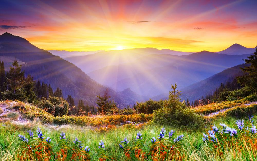 Morning sun mountain landscape desktop wallpaper