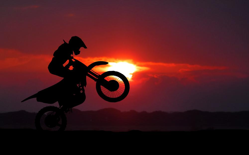 Cross, stunt, silhouette, motorcyclist, motorcycle