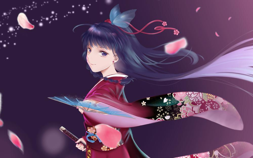 Two-dimensional japanese anime girl petal katana beautiful anime wallpaper