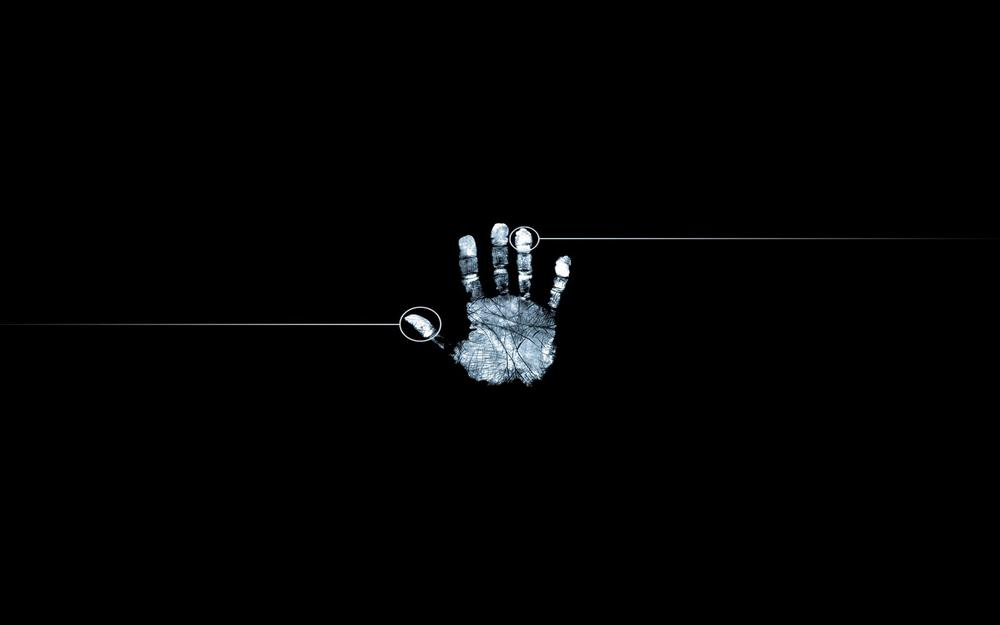 Hand, black white, fingerprint desktop wallpaper