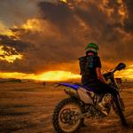 Sunset, motorcyclist, motorcycle