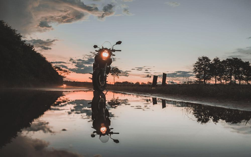Motorcycle, sunset, reflection, water desktop wallpaper