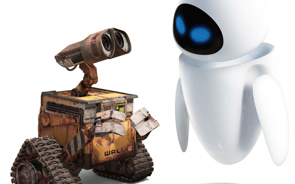 Cartoon, robot, white, valley, love