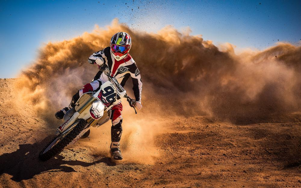 Motorcycle, rider, race, dust