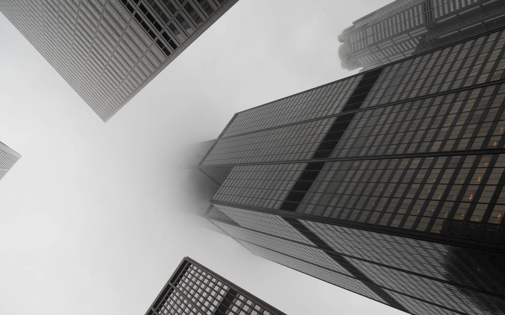 Fog, black and white, skyscrapers