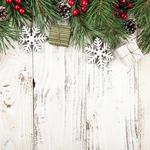 Gifts decoration spruce branches snowflakes