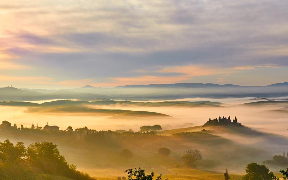 Autumn morning, grass, fields, fog, tuscany, italy, landscape computer wallpaper