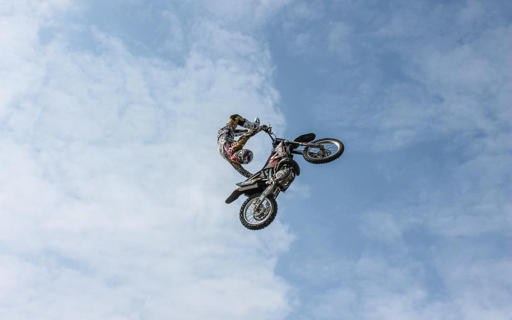 Extreme, clouds, biker, motorcycle, trick