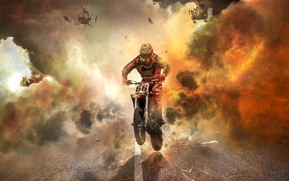 Motorcycle, helicopters, fire, motorcyclist, sparks desktop wallpaper