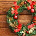 Wreath, new year, pine needles, cones, christmas, bells
