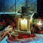 Candle lantern window snow