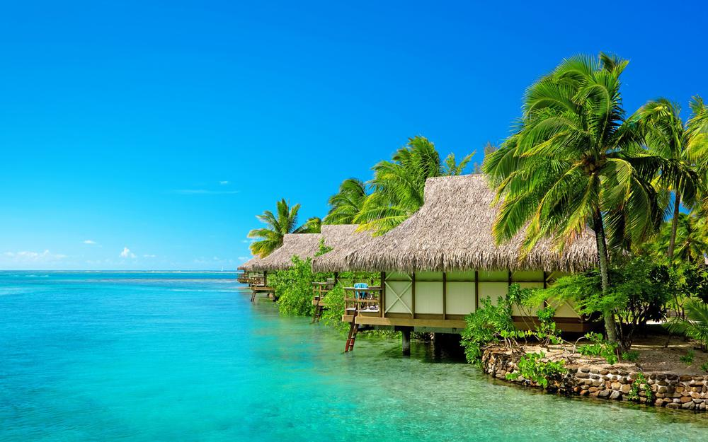 Maldives, sea, sky, vacation, bungalows, landscape desktop wallpaper
