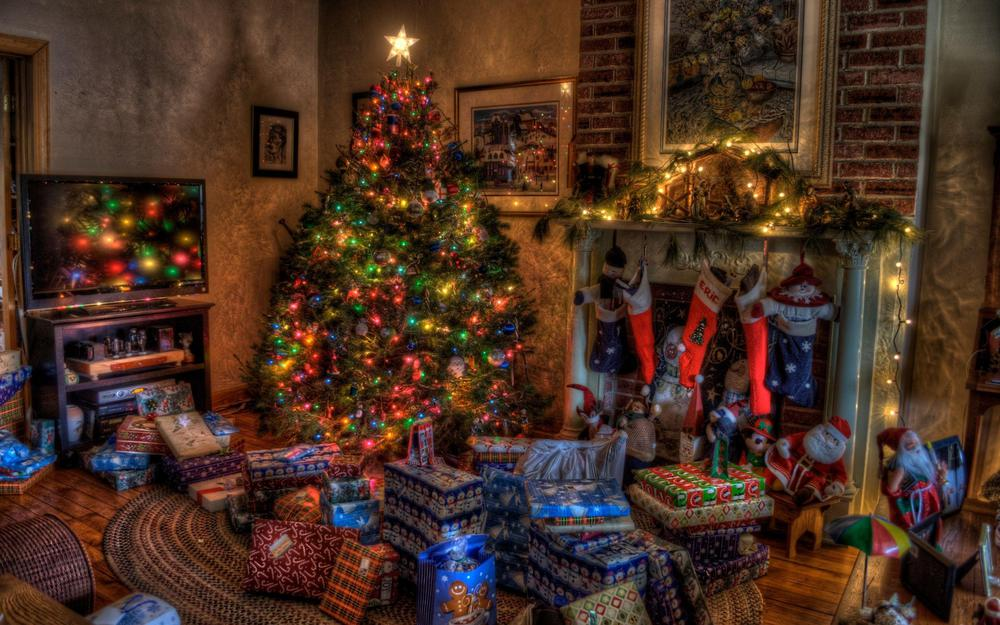 Fireplace, presents, christmas, tree, holiday, toys, home, stockings