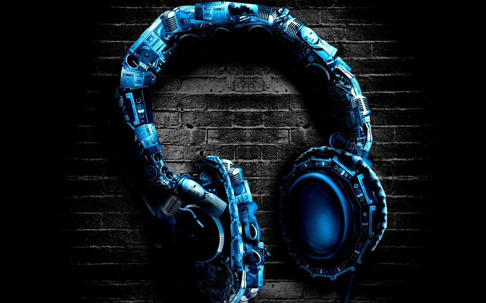 Headphones, headphones, wall, blue, stereo