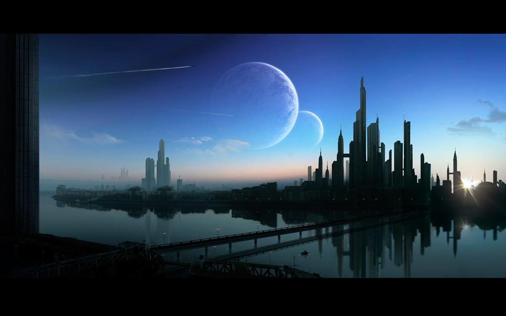 City, land of dogs, bridge, planets