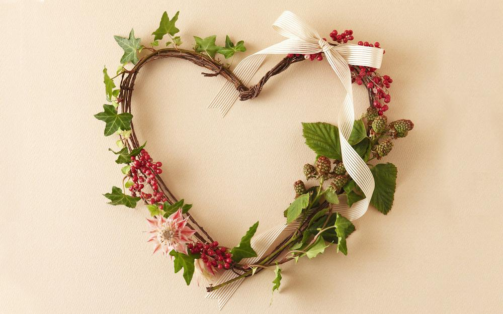 Plants, branches, flowers, wreath, stems, berries