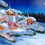 Branch houses fairy tale christmas gifts wallpaper