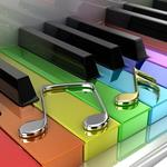 Music, work, rainbow, keys, piano, sheet music, art