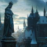 Roofs, city, buildings, statue, winter