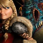 Blonde, viking, dragon, girl, eyes, backround, astrid, action, beautifull, dark, hair, comedy, how to train your dragon 2, adventure, dreamworks, movie, helmet, family, america ferrera, film, fantasy, 2014, animation, armor, blue
