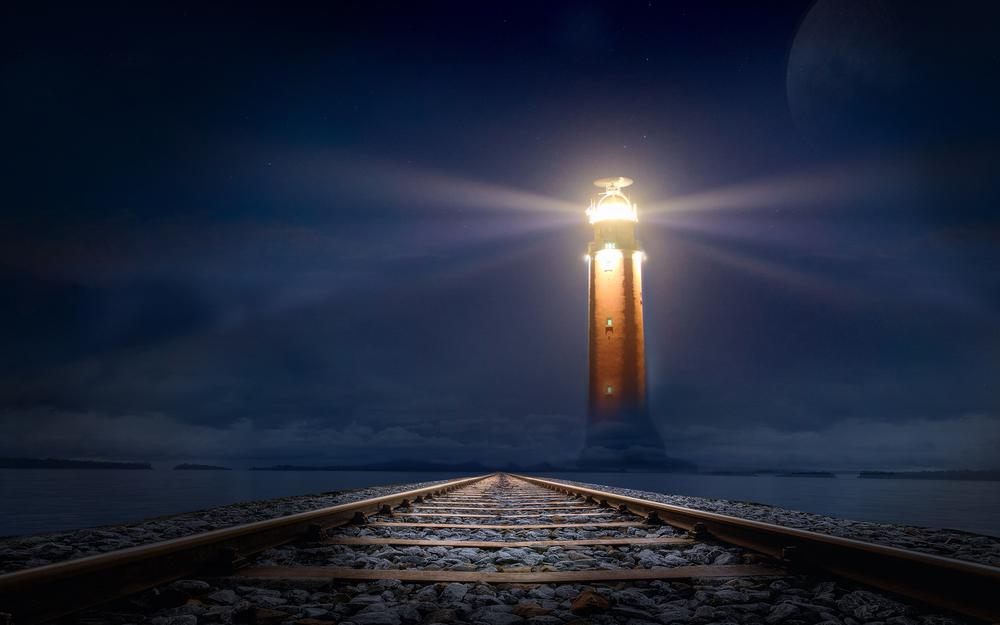Night railway lighthouse landscape desktop wallpaper