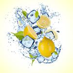 Yellow background, yellow background, drops, slices, water