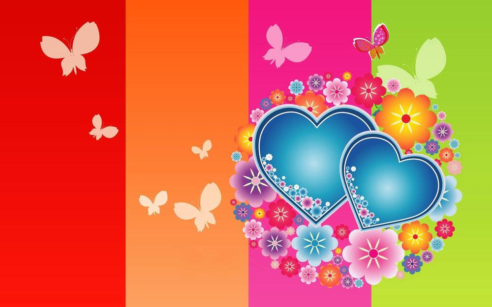 Butterflies, colorful, hearts wallpaper