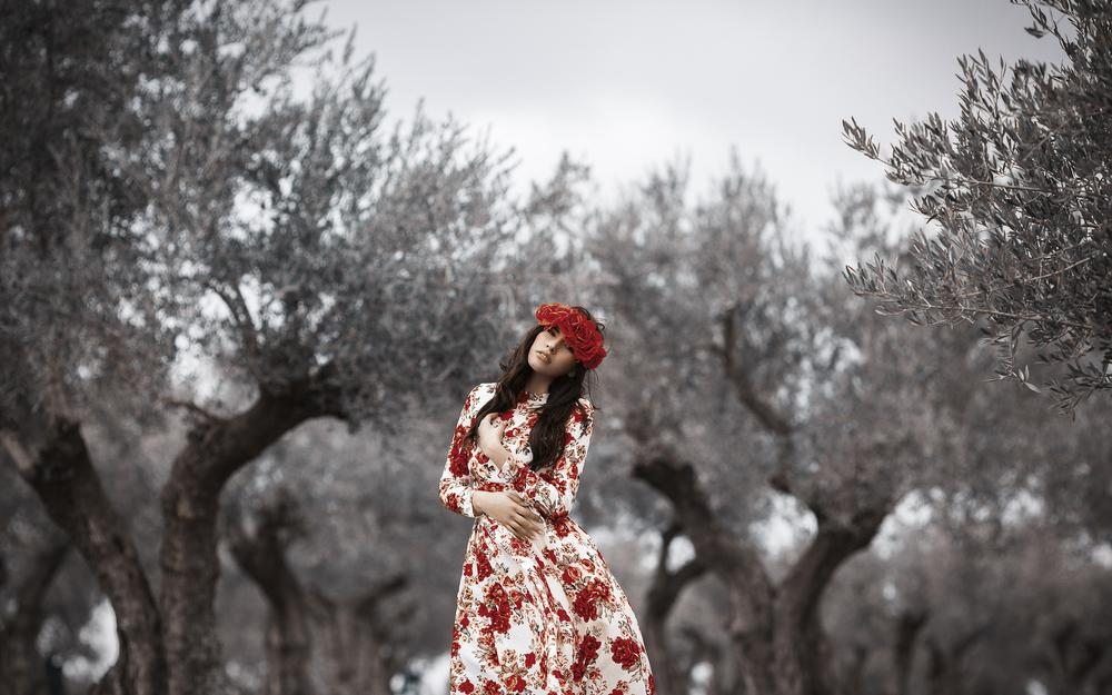 Dress, girl, background, style, flowers