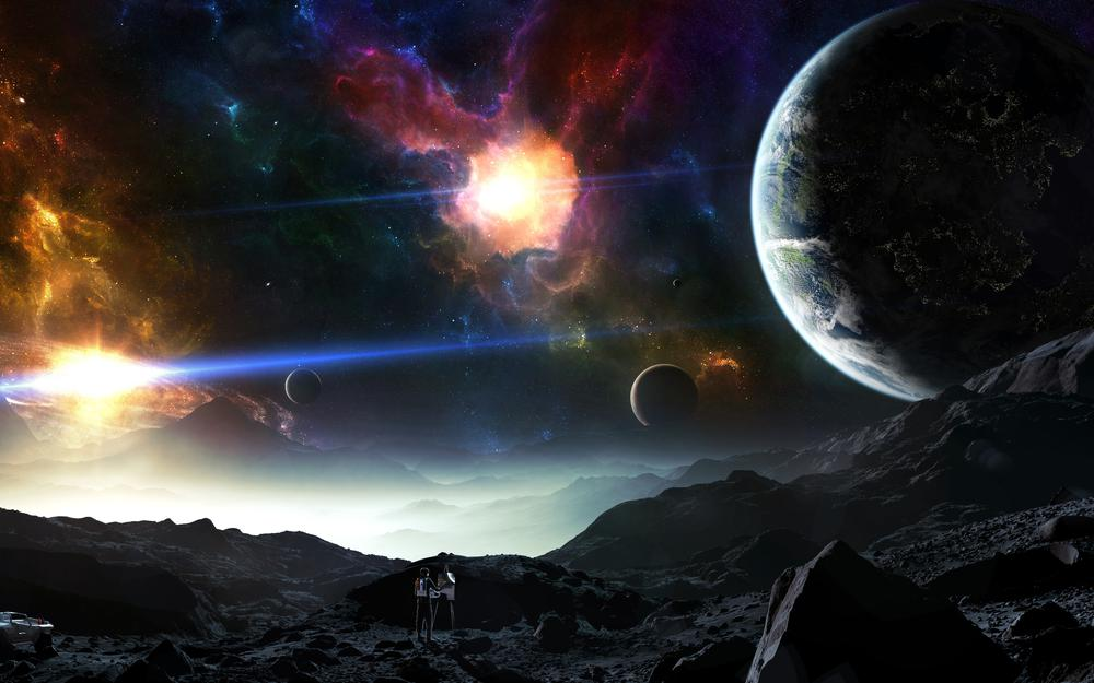 Nebula, space, vehicle, artist, mountains, planets, hellsescapeartist
